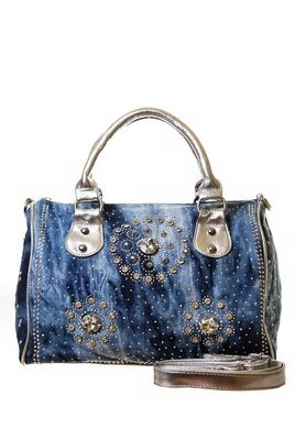 Rhinestone Studded Denim Handbag
