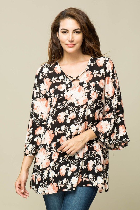 Black Floral Tunic Top
