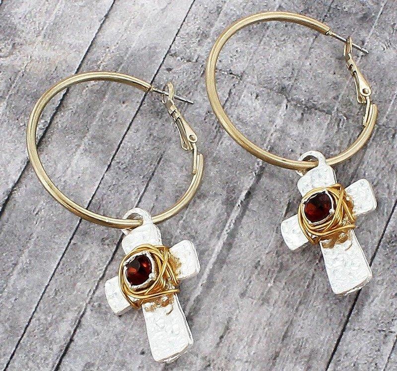 Smoky Quartz Wire Wrapped Cross Earrings