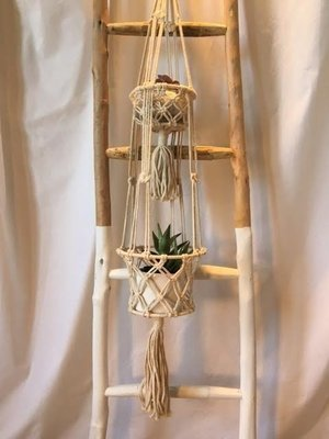 Double Pot Macrame Holder
