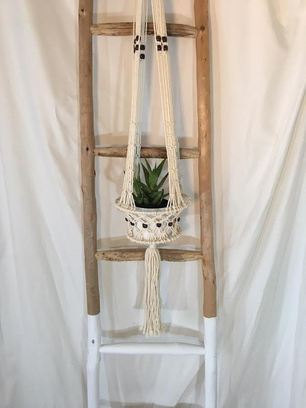 Wood Beaded Macrame Hanger