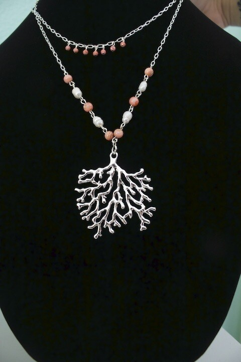 2 chain Coral necklace
