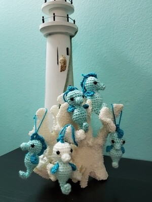 White and blue seahorses