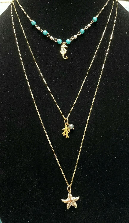 Seaside triple gold necklace set