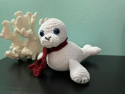 Baby winter seal crocheted stuffed animal