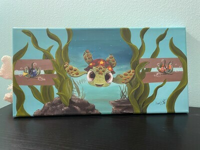 Turtle In the Grass, Original Canvas Painting