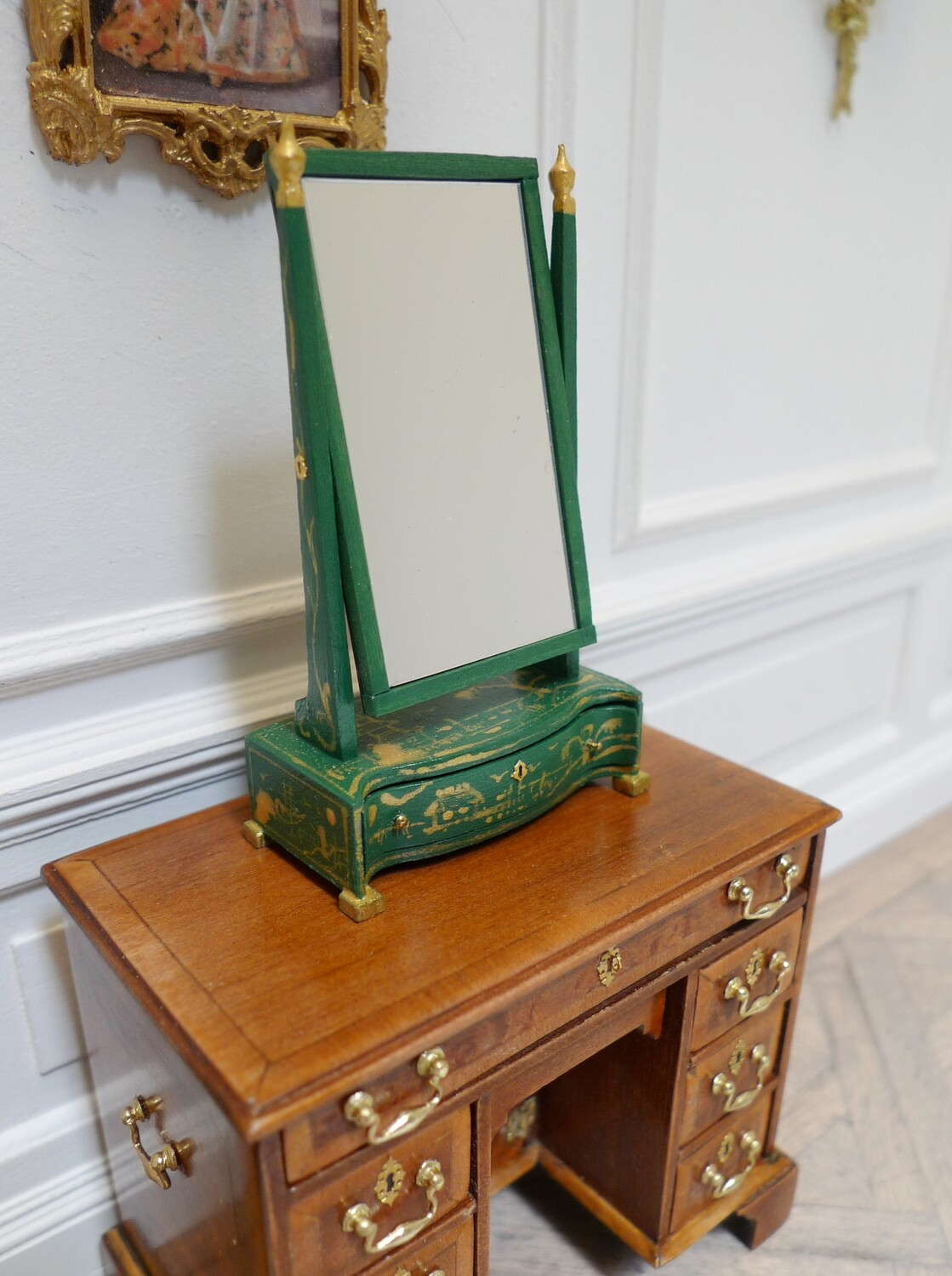 Green lacquered dressing mirror