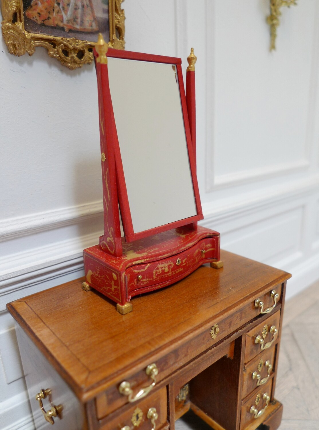 Red lacquered dressing mirror