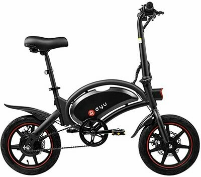 """Dyu D3F - Bicicletta elettrica pieghevole, ruote da 14"""", 25 km/h, 40 km di chilometraggio, bicicletta elettrica con pedali"""