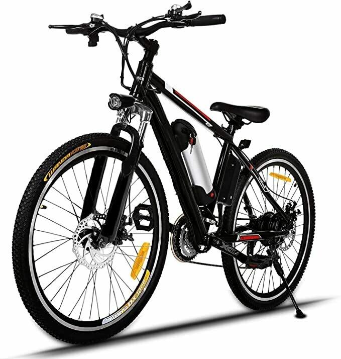 ANCHEER Bici Elettriche da Montagna 26 Pollici, Mountain Bike Batteria al Litio (36 V 250 W) 21 velocità di Sospensione Completa e Attrezzatura Shimano