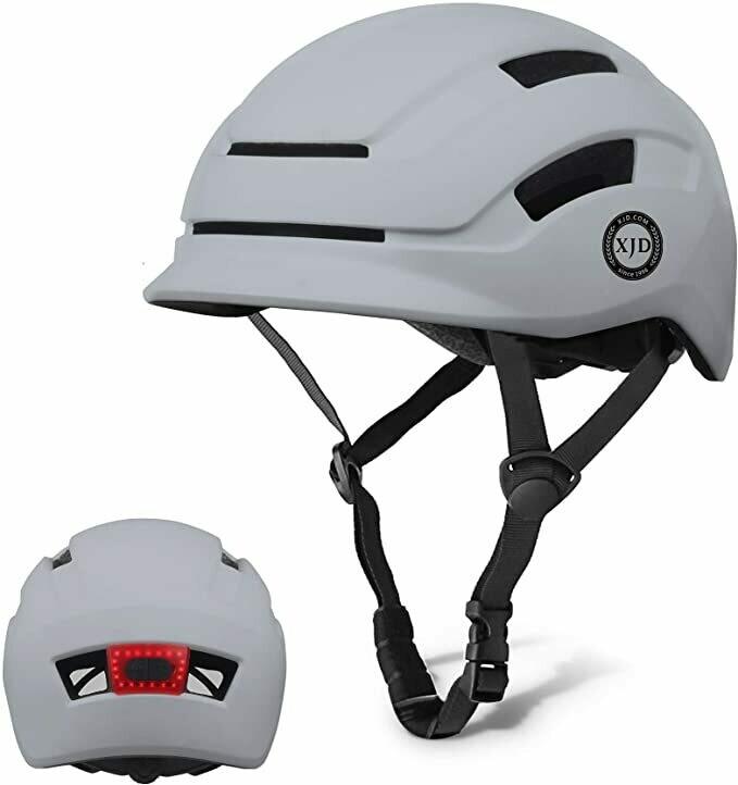 XJD Casco da Bici per Adulti Unisex con Luce Posteriore a LED Casco Multisport Regolabile Leggero per Skateboard Scooter Ciclismo Calotta Interna in EPS Certificato CE