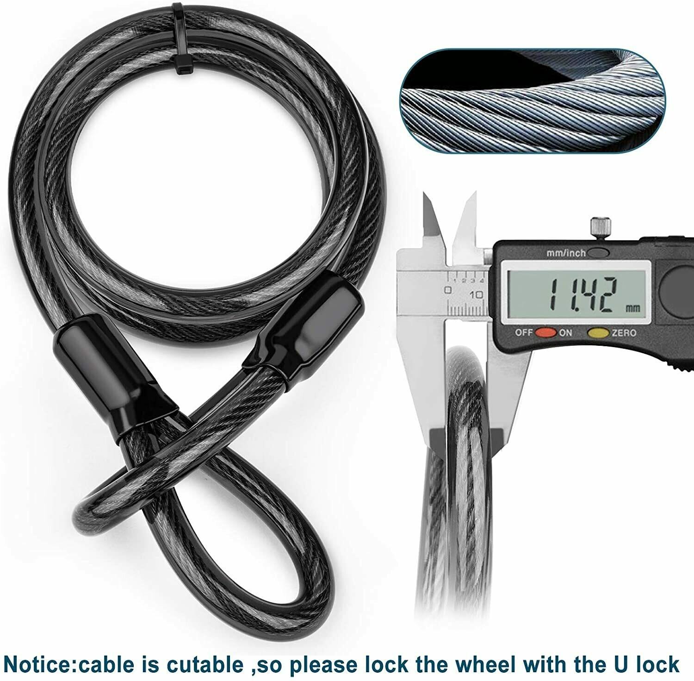 Lucchetto a U per bici, lucchetto a D per impieghi gravosi con 3 chiavi, cavo in acciaio flessibile da 1,2 m e staffa di montaggio