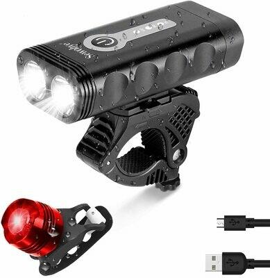 SEWOBYE Luci Bicicletta LED Ricaricabili USB 2400 Lumen, Super Luminoso Luci Bici con Display LED, Luce Bici 5 Modes Adatto per Corsa MTB Monopattino Elettrico Bici da Strada