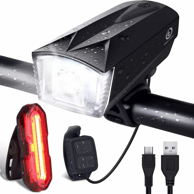 OMERIL Luci per Bicicletta, Luci Bicicletta con Comando Remoto e Clacson, Super Luminoso Luce Bici Anteriore e Posteriore USB Ricaricabile Impermeabile