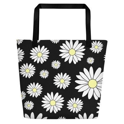 Beach Bag in Black Daisy Chain