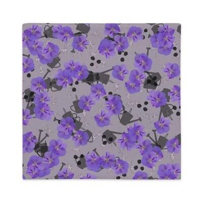 Premium Pillow Case Hibiscus August in Grey