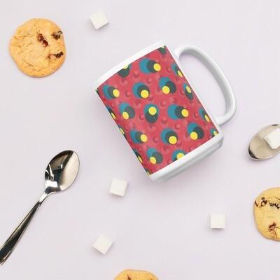 White glossy mug Retro Fun Balls in Passion Fruit