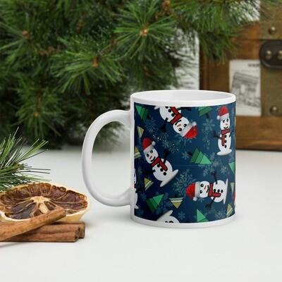 Happy Snowman Christmas Mug in Indigo