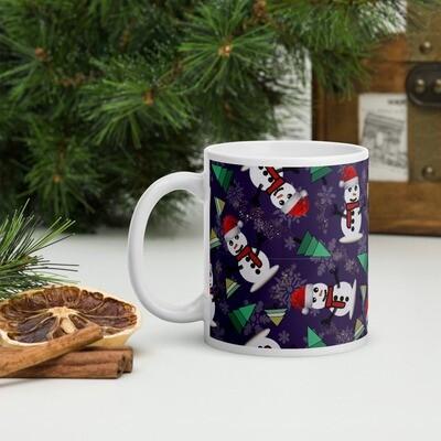 Happy Snowman in Purple Christmas Mug