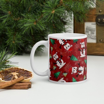 Happy Snowman in Ruby Red Christmas Mug