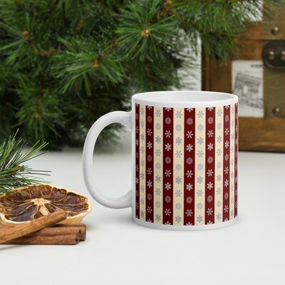 Snowflakes in Cream and Red Stripes Christmas Mug