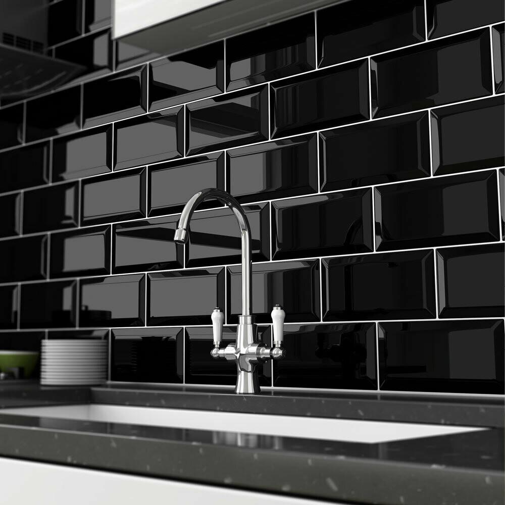Metro Black Flat Gloss Wall Tiles 10 x 20 cm