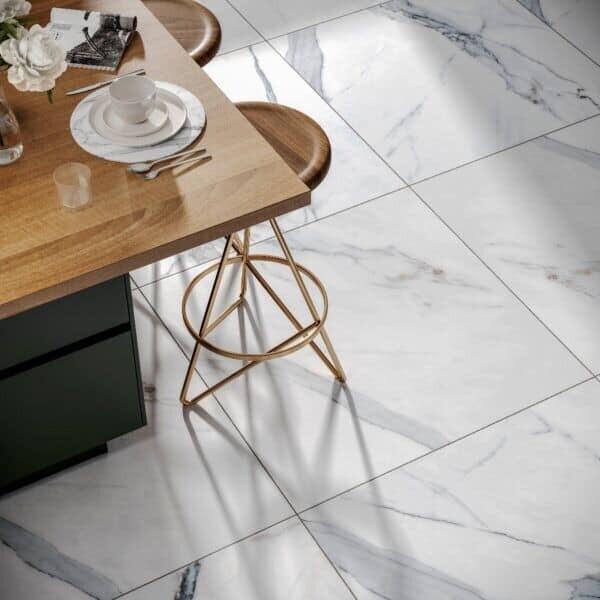 Carrara White Gloss Marble Porcelain Tiles 60 x 60 cm