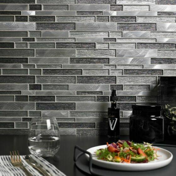Grey Interlock Glass Mosaic 31 x 30 cm