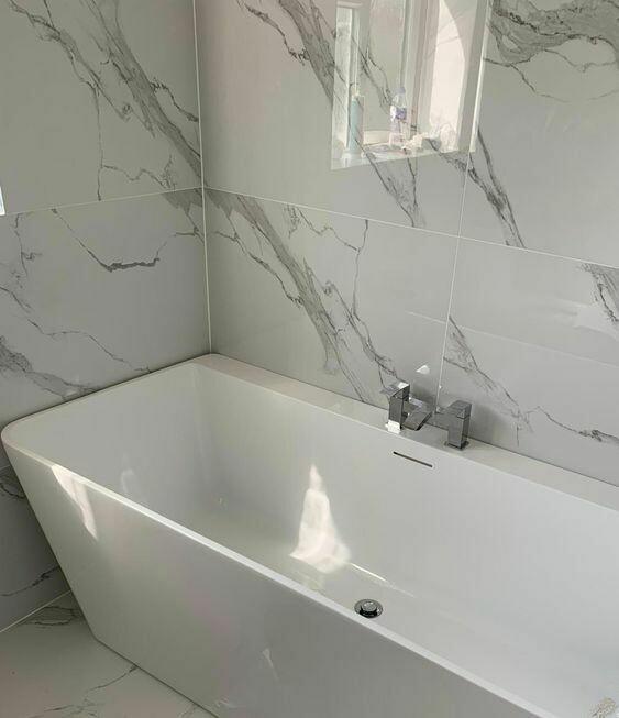 Casablanca White Gloss Marble Porcelain Tiles 120 x 60 cm