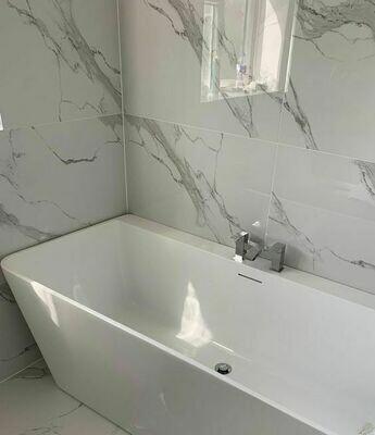 Carrara White Gloss Marble Porcelain Tiles 120 x 60 cm