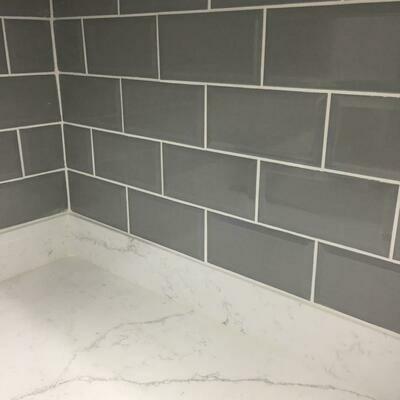 Metro Grey Bevelled Gloss Tiles 20 x 10 cm