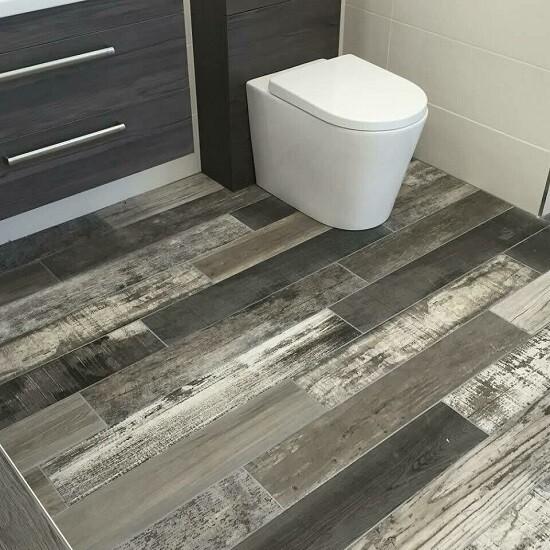 Grey Mix Wood Porcelain Tiles 15 x 90 cm