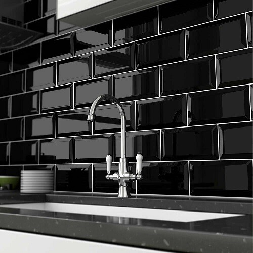 Black Flat Gloss Wall Tiles 10 x 20 cm