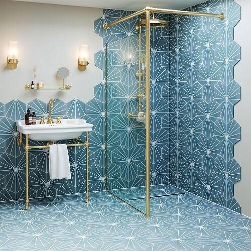 Lilly Pad Blue Porcelain Tiles 26 x 23 cm