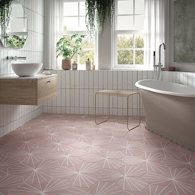 Lilly Pad Pink Porcelain Tiles 26 x 23 cm