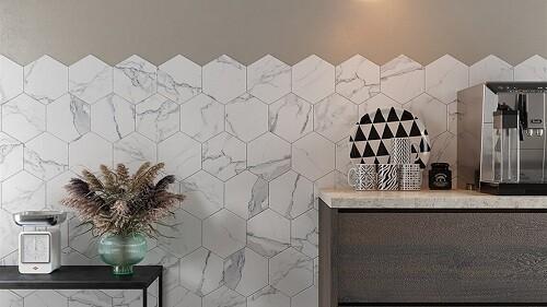 Carrara Hexagon Porcelain Tiles 22 x 24 cm