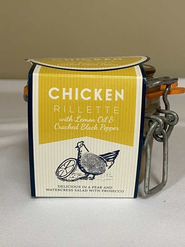 Cornish Charcuterie Chicken Rillette with Lemon Oil % Cracked Black Pepper