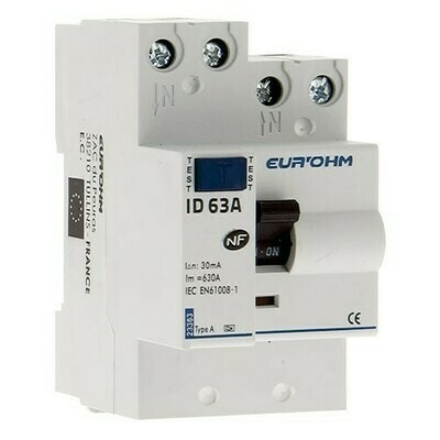 EUROHM Interrupteur différentiel 63A 30mA type A 3 modules 230V