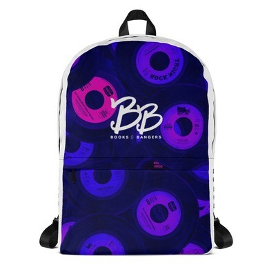 Books & Bangers Backpack in Fuschia Records All-Over