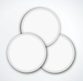 ProLuce® LED Panel TONDO 4036, Ø400 mm, 36W, 3960 lm, 3000K, CRI >90, 100°, 0-10V,  silber