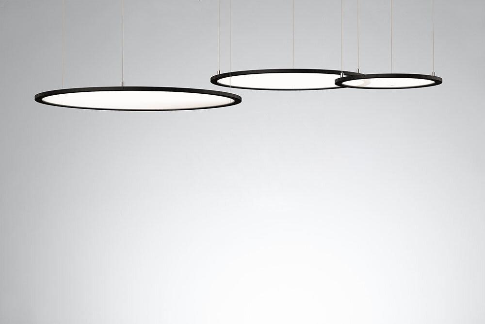 ProLuce® LED Panel TONDO/C Ø900 mm, horiz., 72W, 7920 lm, 2700K, DALI, 100°, silber