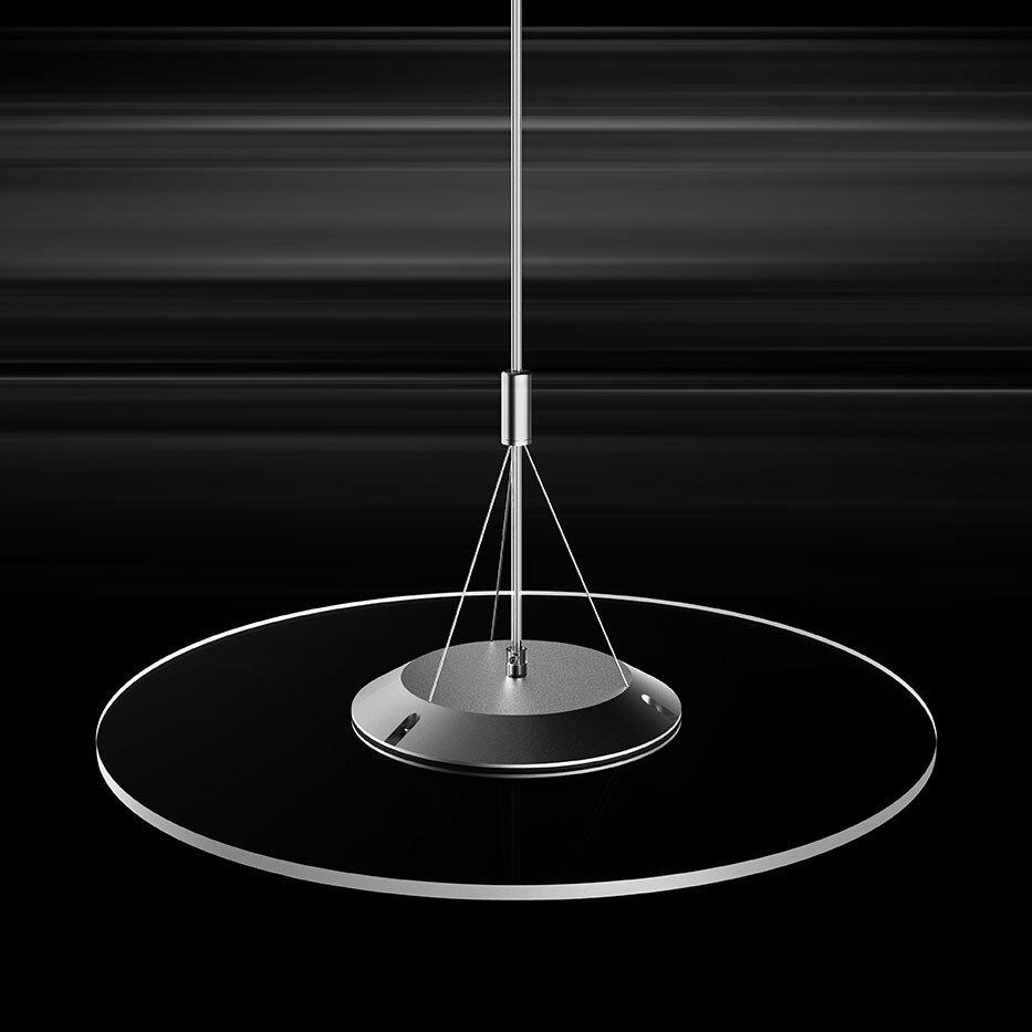ProLuce® Hängeleuchte VERDONE 50, Ø500 mm, 24W, 3000K, silber/transp., dimmbar DALI