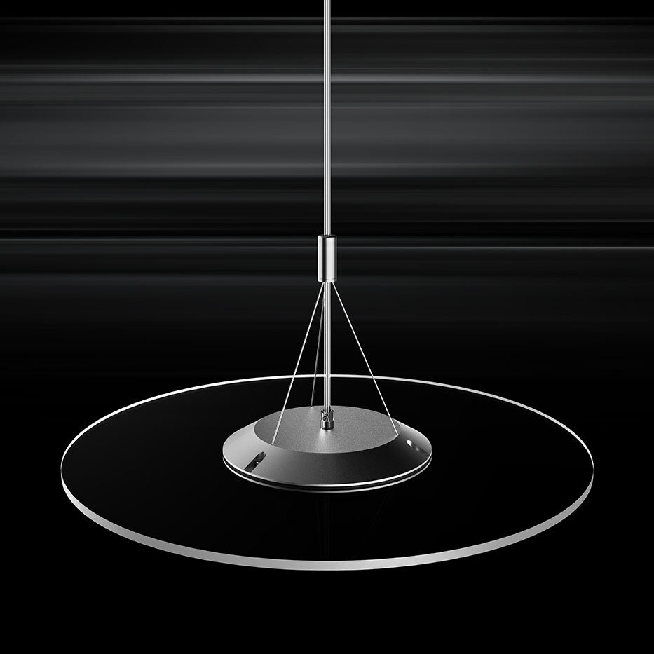 ProLuce® Hängeleuchte VERDONE 50, Ø500 mm, 24W, 3000K, silber/transp., dimmbar 0-10V