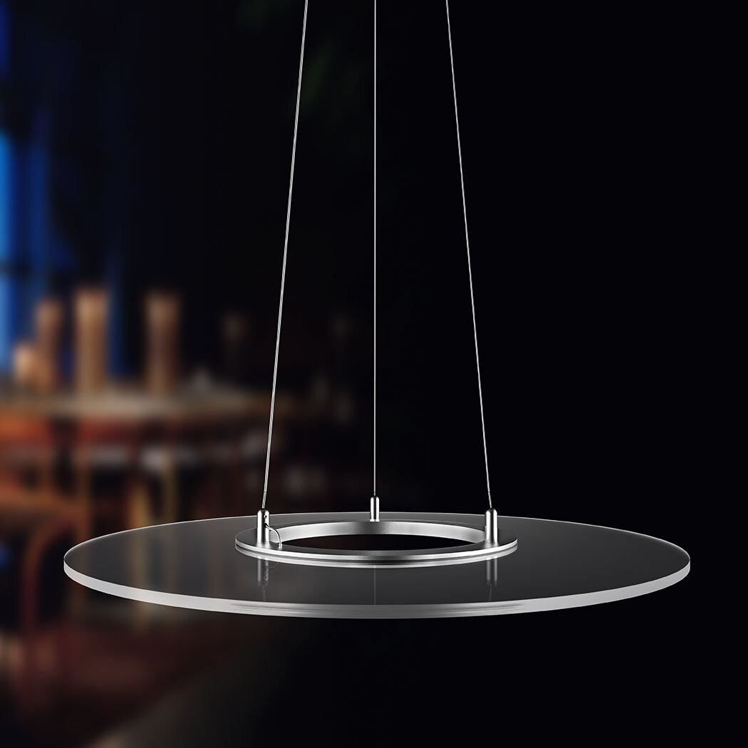 ProLuce® Hängeleuchte VERDONE/R 60, Ø600 mm, 36W, rund, 2700K, silber/transp., dimmbar 0-10V