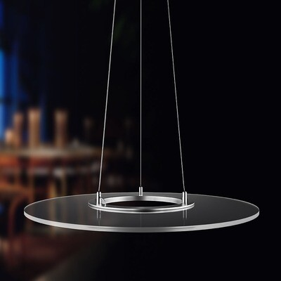 ProLuce® Hängeleuchte VERDONE/R 60, Ø600 mm, 36W, rund, 2700K, silber/transp.