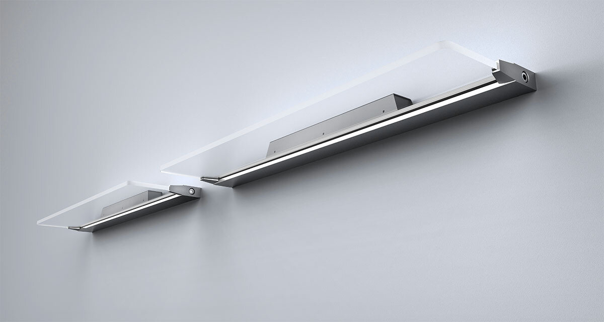 ProLuce® Wandleuchte AIRONE W90, 14W, 900x178 mm, 4000K, 1120 lm, on/off, silber/transp.
