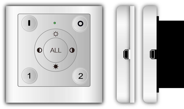 ProLuce® Fernsteuerung MR-A1 für Wandanbau, 2.4G, 86x86 mm, für 6 Gruppen