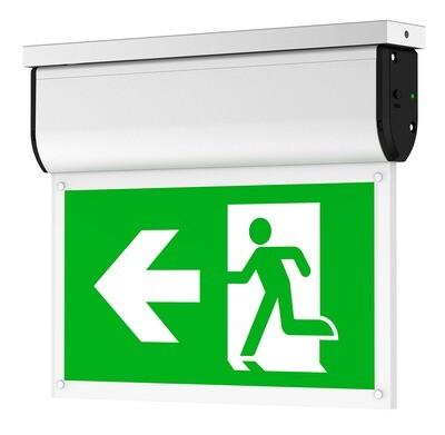 PROLUCE® LED Notleuchte EX2 ALU für Wand/Decke/, seitl. Anbau, 4 Pictogr., 240V, 3 Std., Auto-Test