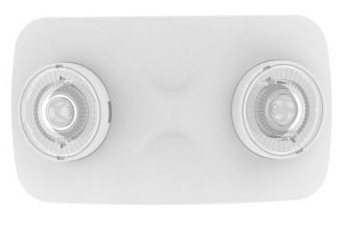 PROLUCE® LED Notleuchte EM6 Twin, Decken-/Wand-, anbau, weiss, 2x2 Linsen, 240V, 3 Std., Auto-Test
