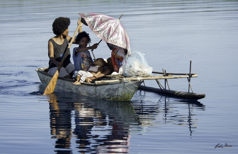 Dobu Island family in canoe  10x15 Acrylic